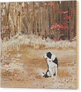 Waiting At Woods Edge Wood Print