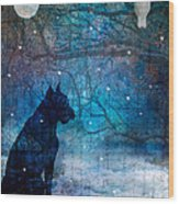 Waiting By The Night River Wood Print by Judy Wood
