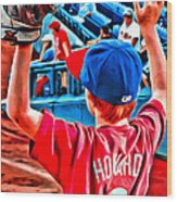 Waiting For A Foul Ball Wood Print