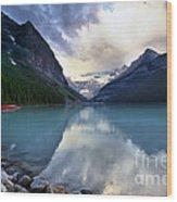 Waiting For Sunrise At Lake Louise Wood Print