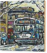 Waiting For The 80 Bus Montreal Memories Winter City Scene Painting January Art Carole Spandau Art Wood Print