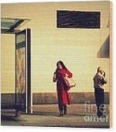 Waiting For The Bus - New York City Street Scene Wood Print