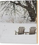 Waiting For The Right Season As An Oil Painting Wood Print
