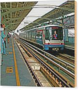 Waiting For The Sky Train In Bangkok-thailand Wood Print