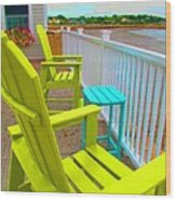 Waiting For Tide And Sunset Wood Print