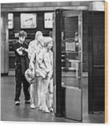 Waiting In Line At Grand Central Terminal 2 - Black And White Wood Print
