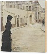 Waiting Paris Rue De Chanteaubriand Wood Print by Jean Beraud