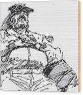 Waiting Room Nap Sketch Wood Print