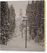 Waiting Ski Lifts Wood Print