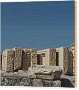Waiting Tablets At Acropolis Wood Print
