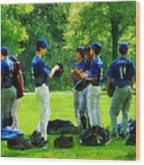 Waiting To Go To Bat Wood Print by Susan Savad