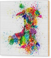 Wales Paint Splashes Map Wood Print by Michael Tompsett