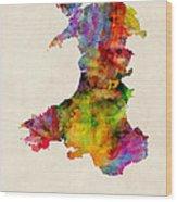 Wales Watercolor Map Wood Print