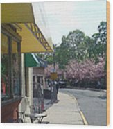 Walk By Cafe Wood Print