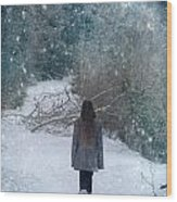 Walk In The Snow Wood Print
