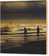Walk In The Surf Colored Wood Print