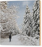 Walk In The Winterly Forest With Lots Of Snow Wood Print