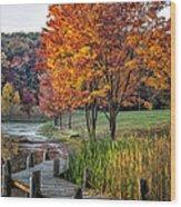 Walk Into Fall Wood Print
