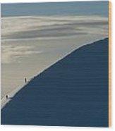 Walkers Climbing Snowy Ridge Of Sgorr Wood Print