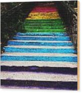 Walkin' On Rainbow Wood Print by Lucy D