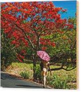 Walking Along The Road. Mauritius Wood Print