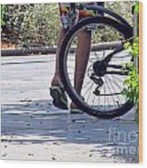 Walking And Biking Wood Print