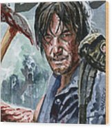 Walking Dead Sketch Cover Daryl Wood Print