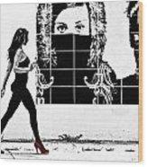 Walking Girl Wood Print
