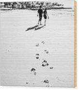 Walking In The Beach Wood Print