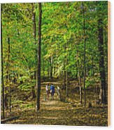 Walking In The Forest Wood Print