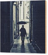 Walking In The Rain Wood Print