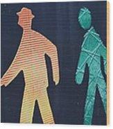 Walking Man Symbol Wood Print