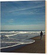 Walking On Seaside Beach Wood Print