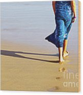 Walking On The Beach Wood Print