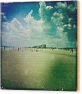 Walking On The Beach Wood Print