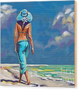 walking on the beach More Color Wood Print