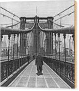Walking On The Brooklyn Bridge Wood Print