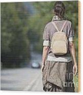 Walking On The Road Wood Print