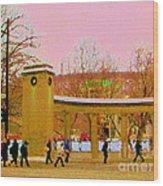 Walking Sherbrooke By Roddick Gates Mcgill Campus View Of Mont Royal Montreal Scenes Carole Spandau  Wood Print