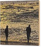 Strangers On A Shore - Walking Silhouettes Wood Print