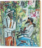 Walking Stick Man At The Blues Festival In Cazorla Wood Print