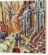 Walking The Dog By Balconville Winter Street Scenes Art Of Montreal City Paintings Carole Spandau Wood Print