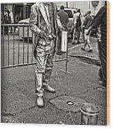 Walking The Gator On Bourbon St. Nola Black And White Wood Print