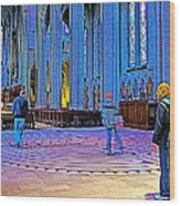 Walking The Indoor Labyrinth In Grace Cathedral In San Francisco-california Wood Print