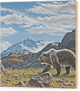 Walking The Ridge - Grizzly Wood Print