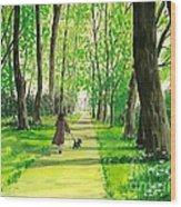 Walking The Scottie Wood Print