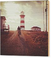 Walking To The Lighthouse Wood Print