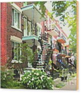 Walking Verdun In Summer Winding Staircases And Pathways Urban Montreal City Scenes Carole Spandau Wood Print