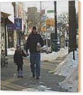 Walking With Dad Wood Print
