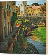 Walkway Along The River - Cascais Wood Print